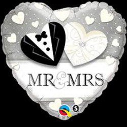 "(A) BALL.MYLAR 18"" MR&MRS"