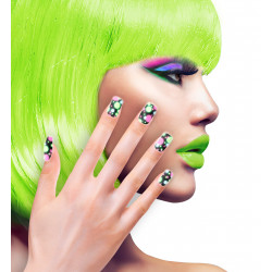 SET 12 ONGLES NEON A POIS
