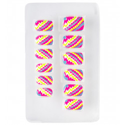 SET 12 ONGLES NEON A RAYURES