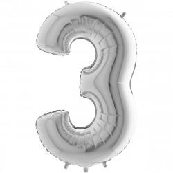 """(C) BALLON 26"""" (66cm) 3 ARGENT"""
