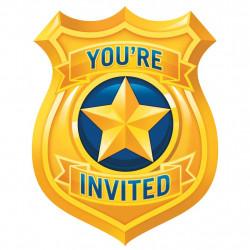 8 INVITATIONS 11.5x15cm POLICE